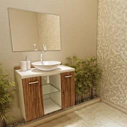 Gabinete Terra 2 Portas Sem Gaveta - Com Espelho Acompanha Cuba Vtec Móveis
