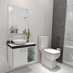 Gabinete Alpha 1 Porta Sem Gaveta - Com Espelho Acompanha Cuba Vtec Móveis