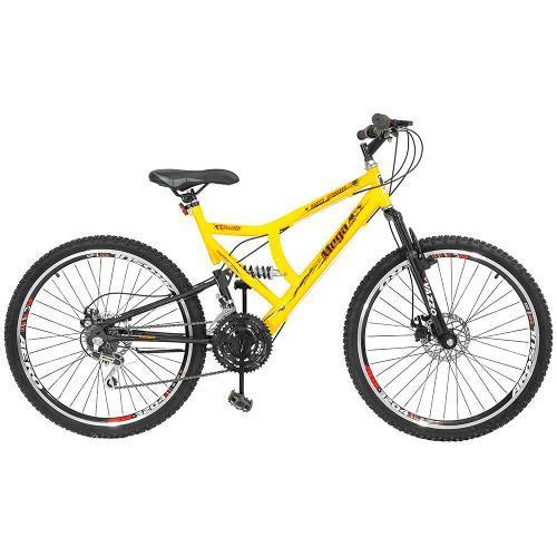 Bicicleta Mega Bike Gold Aro 26 Full Suspensão 21 Marchas - Amarelo