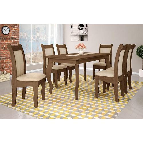 Conjunto de Mesa e Cadeira Colonial 6 Cadeiras Art Panta