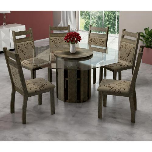 Conjunto de Mesa e Cadeira Urca Redonda 6 Cadeiras Sonetto