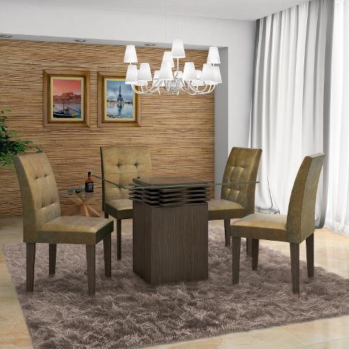 Conjunto de Mesa e Cadeira Stilo 4 Cadeiras Lj Móveis