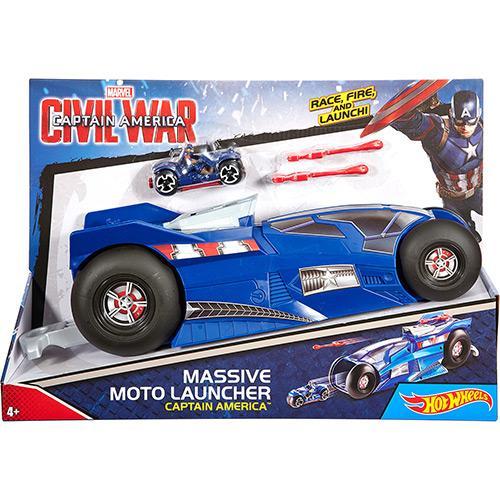 Carrinho Moto Mega Lançador Marvel Capitão América Djh62 Mattel