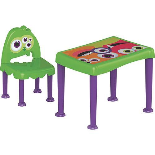 Mesa Infaltil de Atividades Com Cadeira Monster Kids Verde e Lilás Tramontina