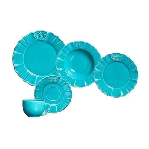 Aparelho de Jantar Solteiro Windsor Premium Azul 5 Peças - Porto Brasil