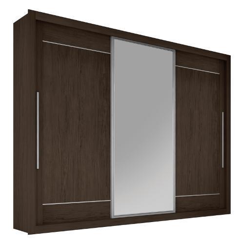 Guarda-roupas Leifer Móveis Greco Com 3 Portas de Correr 6 Gavetas Com Espelho