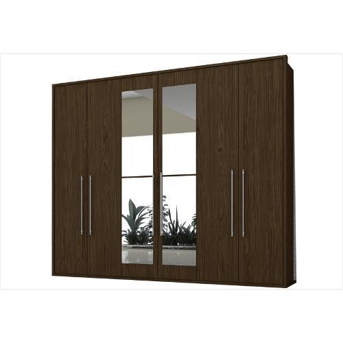 Guarda-roupas Colibri Safira Celeste Com 6 Portas 3 Gavetas Com Espelho