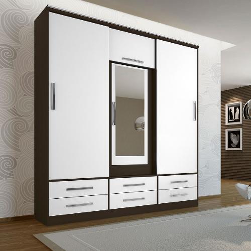 Guarda-roupas Móveis Albatroz Stilo Com 3 Portas 6 Gavetas Com Espelho
